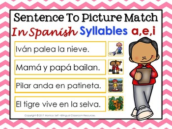 "Sentence To Picture Match In Spanish with syllables ""A,E,I"""