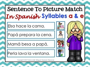 "Sentence To Picture Match In Spanish with syllables ""A & E"""