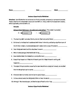 Sentence Type Practice Sheet