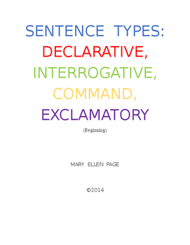 Sentence Types: Declarative, Interrogative, Commands, Exclamatory
