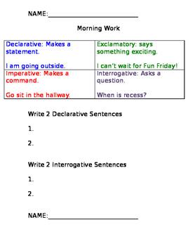 Sentence Types Morning Work