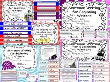 Sentence Writing Bundle- Zoo,Ocean, Community Helpers, Farm