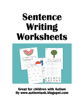 Printables Worksheets For Kids With Autism sentence writing worksheets for kids with autism by hailey deloya autism