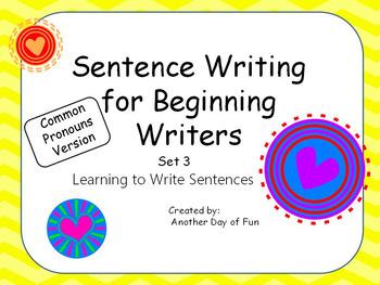 Sentence Writing for Beginning Writers - Pronoun Set