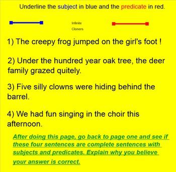 Sentence or Not a Sentence Grade 4-5