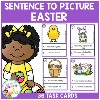 Sentence to Picture Match Task Cards Easter Set