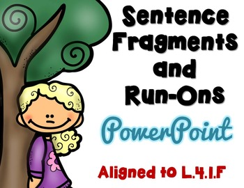 Sentences, Fragments and Run-Ons PowerPoint, Task Cards, P