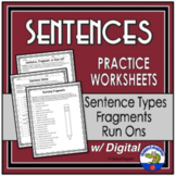Sentences - Worksheets on Fragments, Run-ons, and Types of