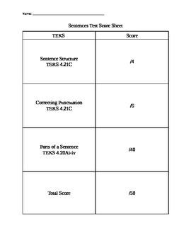 Sentences Test Scoring Rubric