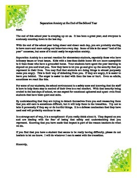 Separation Anxiety Note to Staff- End of Year Reminder PBI