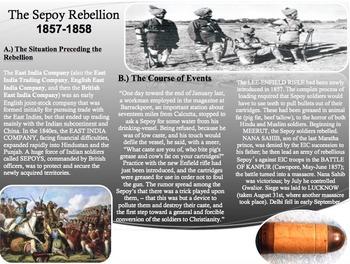Sepoy Rebellion Activity-Close Read-Homework Assignment