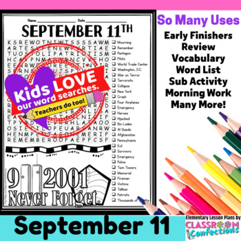 September 11 Activity: September 11th Word Search: 9/11: P