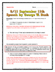 September 11 - Speech Analysis by George W. Bush - Questio