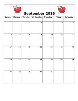 September 2015 Blank Calendar