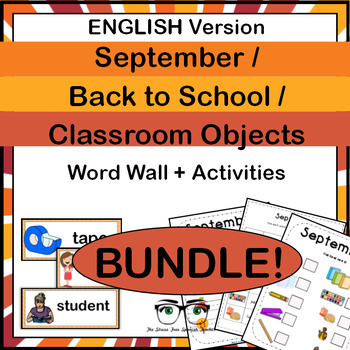 September Back to School Classroom Objects Word Wall Activ