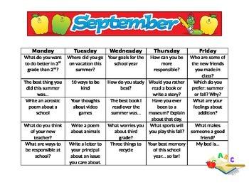 September Back to School Writing Topics Calendar