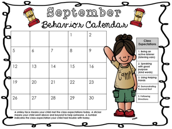 September Behavior Calendar