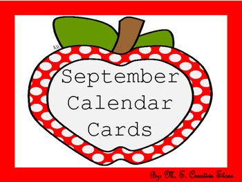 September Calendar Cards (English and Spanish)