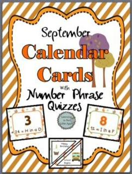 September Calendar Cards with Number Phrase Quizzes
