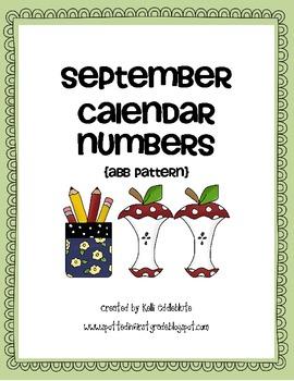 September Calendar Numbers: Back to School