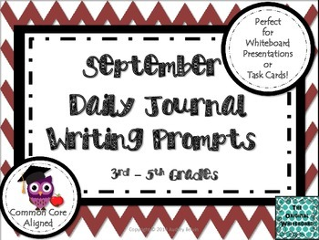 September Daily Journal Writing Prompts for Whiteboard Pre