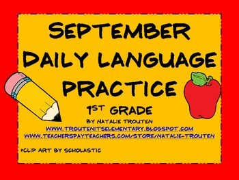 September Daily Language for 1st Grade