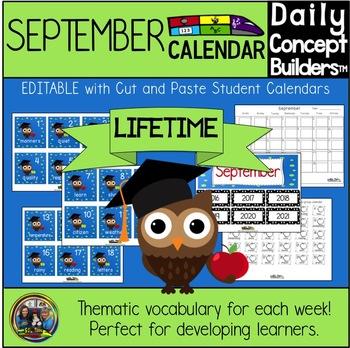 Word of the Day Editable September Calendar