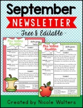 September Editable Newsletter [FREEBIE]