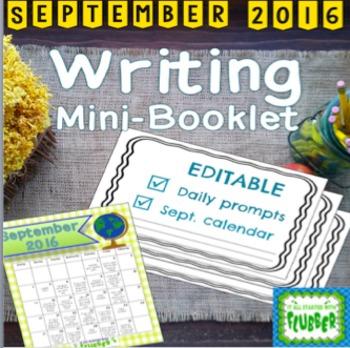 September Editable Writing Calendar and Booklet