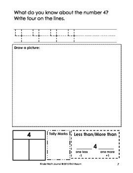 September Kinder Math Journal