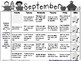 September Kindergarten Homework Calendar *Common Core Aligned*