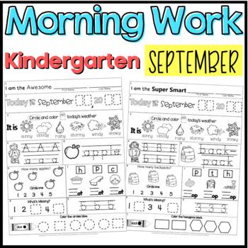 Morning Work: September Packet for Kindergarten (Common Co