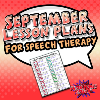 September Speech Therapy Lesson Plans