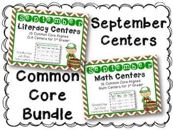 September Literacy & Math Centers Menu BUNDLE {CCS Aligned