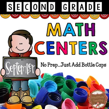 September Math Centers Second Grade: Just Add Bottle Caps