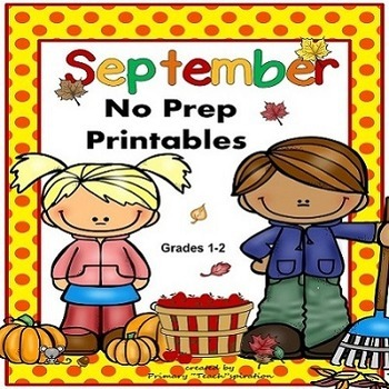September Math and Literacy NO PREP Fall Printables for Co