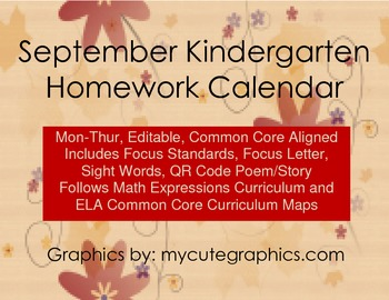 September Mon-Thur. Editable Common Core Kindergarten 4 We