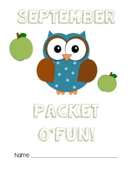 September Monthly Fun Packet: Activties for Early Finishers