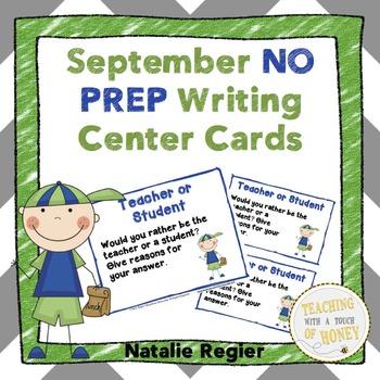 September NO PREP Writing Center Cards