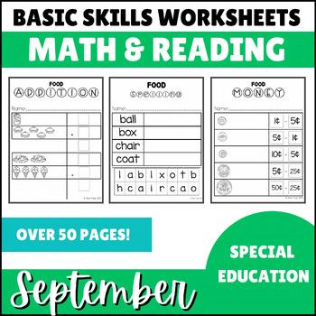 September No Prep Math Basic Skills Unit for Special Ed Cl