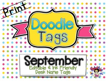 September Print Doodle Tags - Ink Friendly Editable Desk N