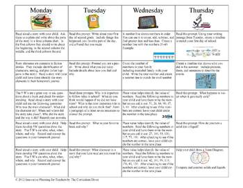 September Second Grade Homework Calendar Publisher Version