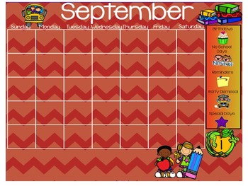 September Smartboard Calendar Template