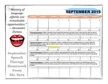 September Speech-Articulation Homework Calendar