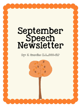 September Speech Language Therapy Monthly Newsletter