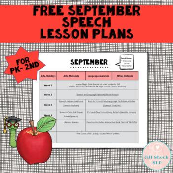 September Speech Lesson Plans- Preschool & Lower Elementar