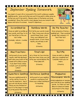 September Spelling Homework