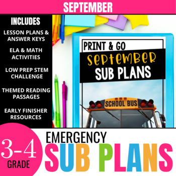 No Prep September Sub Plans for 3rd Grade & 4th Grade
