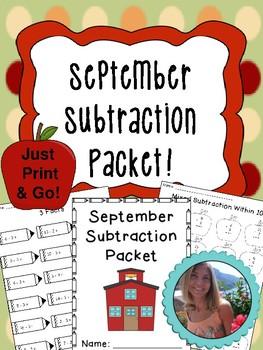 September Subtraction Worksheet Packet- Print and Go!