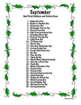 September's Unofficial Holidays & Celebrations: Daily Info